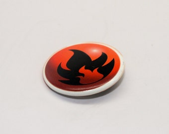 Fire Badge 1.25'' inches Pinback Button - Made from REAL Fire Energy Pokemon Card 1st Generation!