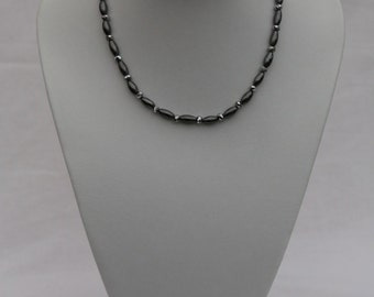 Necklace, oval-shaped hematite beads with silver rondelles, magnetic clasp, UK shop