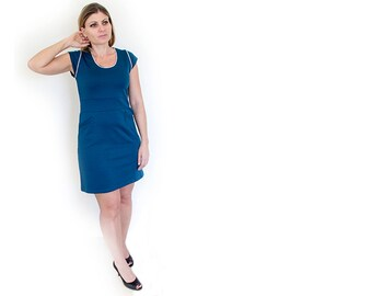 Plus size blue dress-Blue jersey dress with round neckline- Blue tunic-Plus size day dress