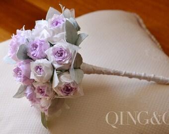 Handmade, Wedding Bouquet, Wedding Flowers, Paper Flowers, Gradient Lavender