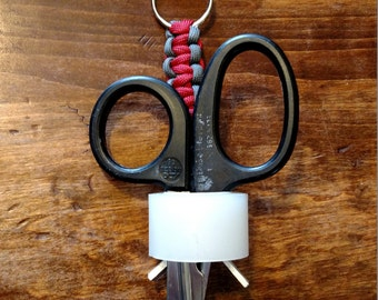 BELT CLIP Trauma Shear Lanyard; this is a custom made lanyard for trauma shears and medical tape that attaches to scrubs
