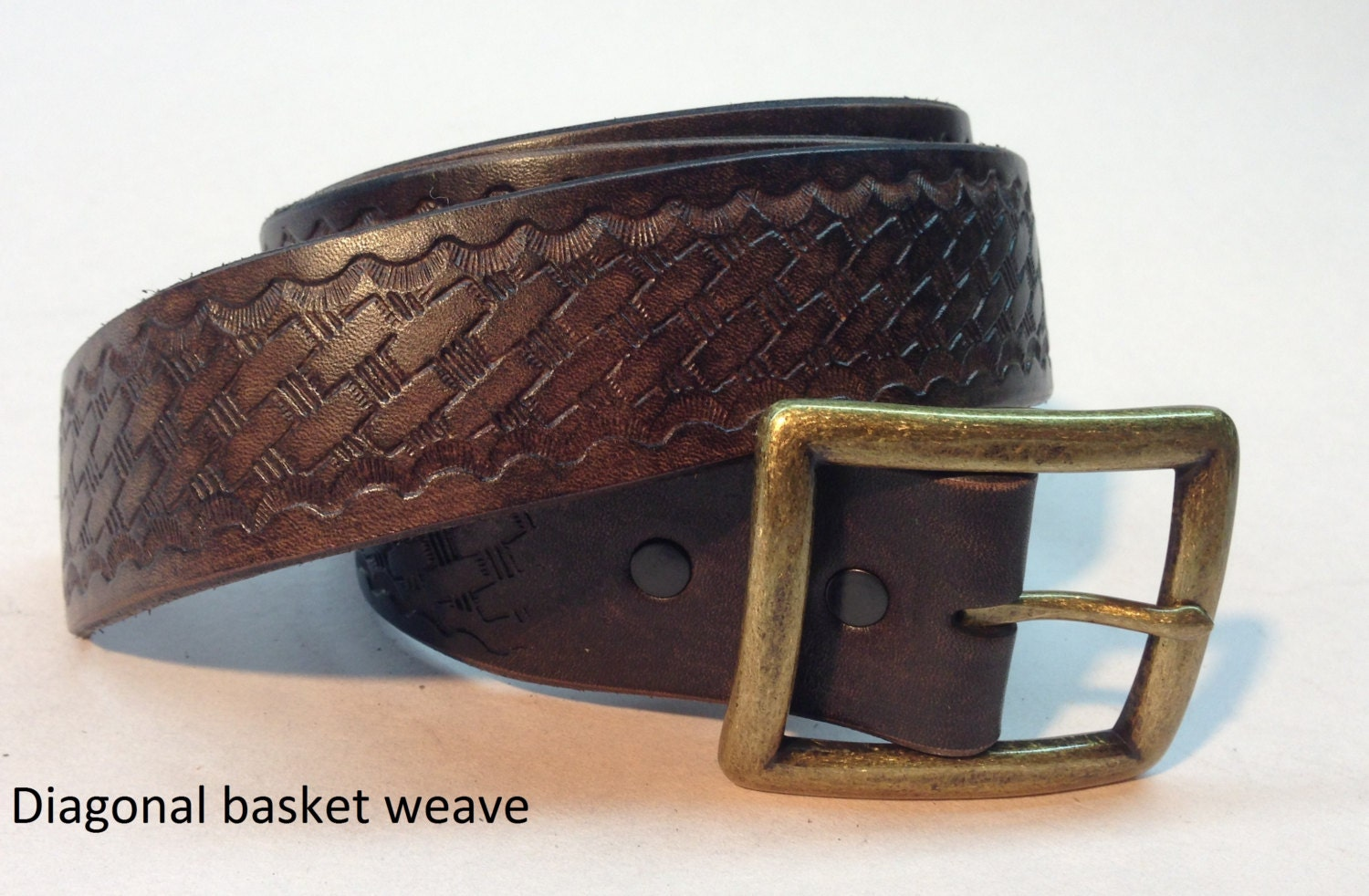 diagonal basket weave brown leather belt s
