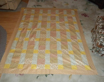 homemade quilt top, size 68X88, simple blocks
