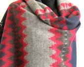 Geometric  Zig Zagged Red gray Blue Blanket  Scarf Winter fashion  Blanket scarves,  Rectangle scarf, Unisex, For him for her blanket, plaid