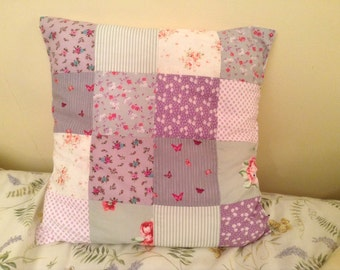 Lilac, Grey and White Patchwork Cushion