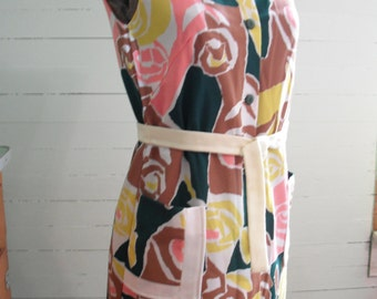 Vintage 1960s  dress, ployester, abstract floral, sleeveless