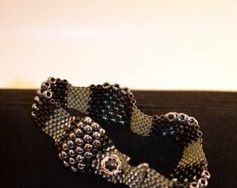 Peyote Weave Beaded Bracelet in Gun Metal, Black, and Grey