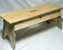 Pine Wood Step Stool With Handle