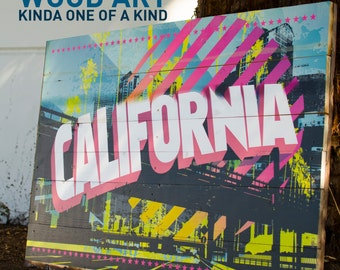 California Postcard Wood Print, Wall Art, Modern Art, Wood Print *FREE SHIPPING