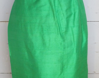 Emerald green Silk Pencil Skirt