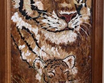 Glass mosaic tiger and cub