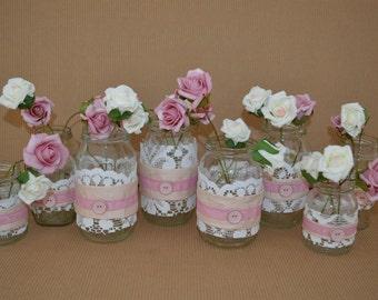 Mason jar wedding decorations - dusty rose, set of 8