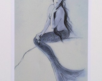 Mermaid greeting card, mermaid art, girl, woman, nautical, coastal,  from original graphite drawing on pastel paper by Tina O'Brien