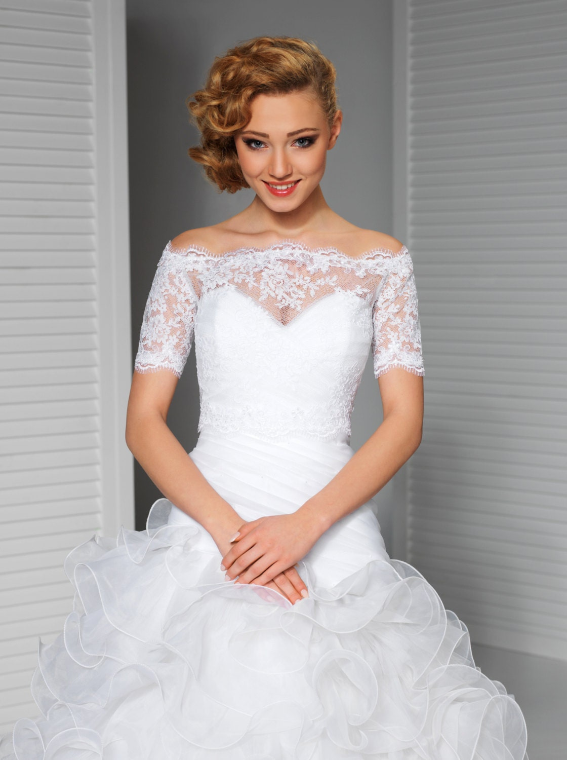 Lace bridal topper in ivory or white for Off the shoulder wedding dress topper