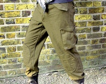 Military style mens trousers army olive green apocalyptic steampunk upcycled