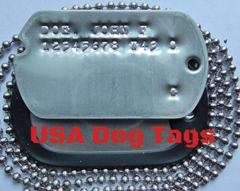 U.S. Military Dog Tags WWII Clones Notched with your info