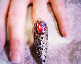 knuckle ring armor ring midi ring Claw Ring jewel nail ring claw ring nail tip ring raven eve goth steampunk renaissance boho