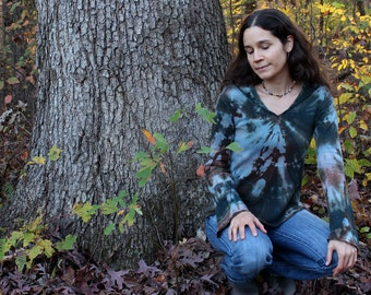 sacred oaks - one of a kind hand dyed hemp and organic cotton hooded long sleeve shirt in green blue and brown - extra small
