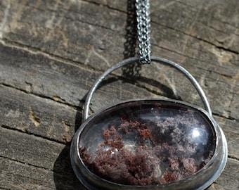fungi necklace v4- lodolite (or phantom quartz) and sterling silver