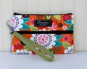 Padded Wristlet Mini Purse- Twill Big Flower