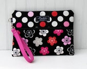 Kindle / iPad mini / Nook / eReader / Padded Cover / Case / Zipper Wristlet- Pink and Gray Floral