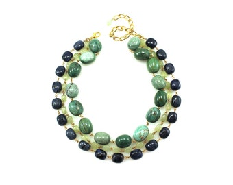 Big Green Statement Necklace, Chunky Green Statement Necklace, Colorful Gemstone Statement Necklace, Colorful Gemstone Necklace