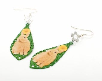 Tan Bunny Rabbit Dangle Earrings Cosmos and Sprite