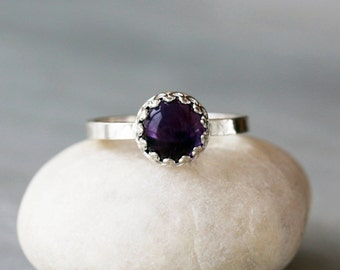 Amethyst Crown Ring, February Birthstone, Sterling Silver Statement Ring, Purple Gemstone, Handmade Jewelry