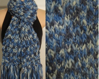 Hand Made Knit Wool Scarf grey blue chunky