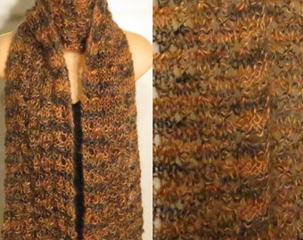 Hand Knit Mohair Scarf Hand Painted Leopard Brown Black