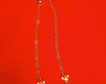 Handcrafted Cast Metal Long Chain Modernist Drop Earrings
