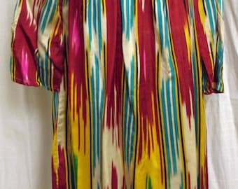 Vintage 1970's Uzbek Hand Woven Silk  Ikat Dress Bold Colors