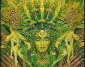 The Dryad Forest Nymph Goddess Psychedelic Art 20x24 Poster Print Pagan Mythology Psychedelic Bohemian Gypsy Goddess Art