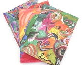 Set of 4 Blank Art Note Cards from Original Paintings - Non Representational - Mutli Color