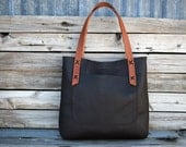 Unisex Leather Tote bag  -  Large Hand Stitched leather Bag  -  Laptop Tote - Market Tote
