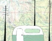 Mt Hood - 11x14 Camping Print