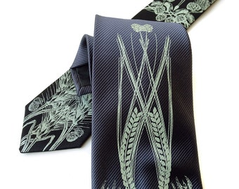 Craft Beer necktie. Men's hops, wheat and barley tie, woven microfiber. Choose black, gunmetal & more! Silkscreened sage green print.