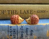 Miniature Ceramic Brown Hedgehog Set Handmade
