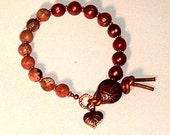 OOAK, Leopardskin Jasper Gemstone and Copper Freshwater Pearls Button and Leather Closure Bracelet