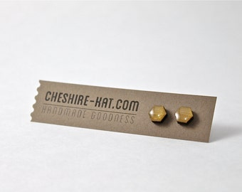 Gold Hexagon Bamboo & Resin Stud Earrings