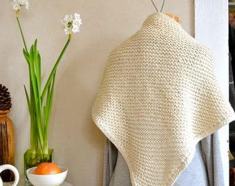 Warm White Shawl Hand Knit Alpaca Wool Blend Bulky Weight