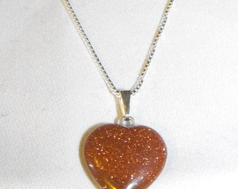 "Goldstone Heart Pendant on 18"" Sterling Silver Chain"