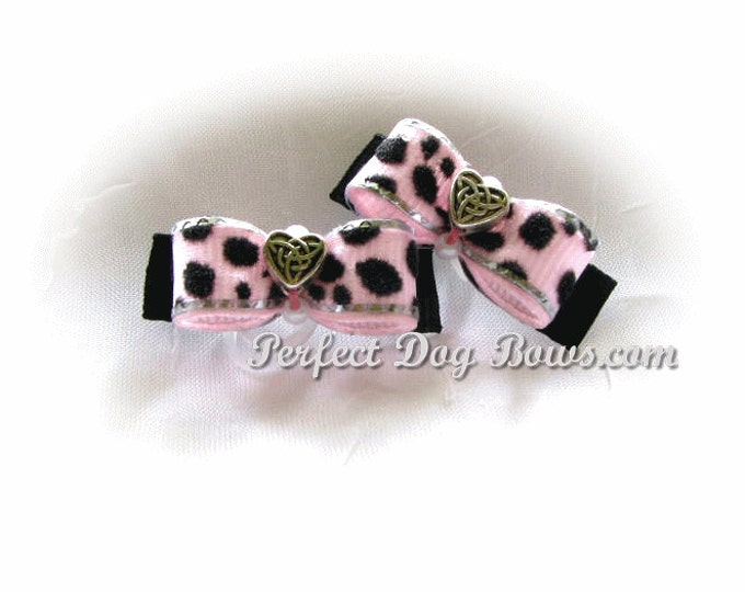 Dog Bow, Pink Velvet Print Cheetah Pink Dog Hair Bow Pair for Maltese and Puppies
