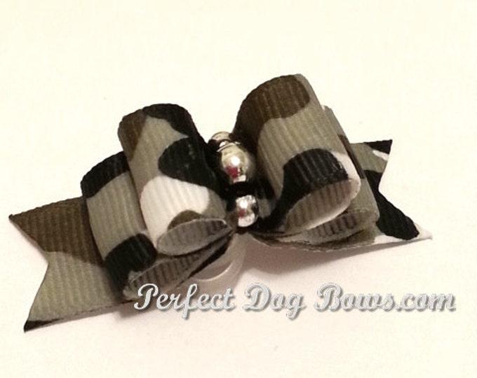 Camo Dog Bow, Black Camouflage, Hunting Dog Bow, Boy Dog Bow