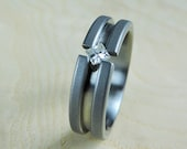 Wedding Ring - Titanium and Moissanite - Tension Set Ring - Engagement Ring - Womens Ring - Moissanite Ring - Handmade Ring - Engraved Ring