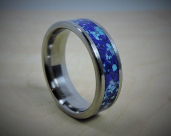 Mens Titanium Wedding Band, Mens Turquoise Ring, Mens Titanium Ring, Blue Stone Inlay Ring, Custom Engraving Wedding Ring, Lapis Ring