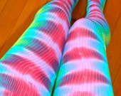 Tie Dye Electro Thigh High Dance Socks - Yoga - Burning Man Festival - Leg Warmers