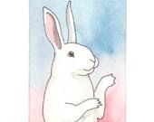 Original Watercolor Rabbit Painting - Pretty - ACEO