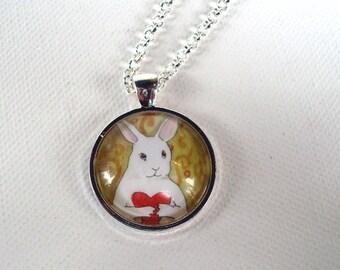 Bunny Holding a Heart - Round Pendant - Unique Rabbit Necklace