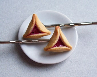 Hamantaschen Purim Cookie Hairpins - polymer clay miniature food jewelry